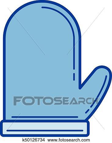 Forno, guanto, linea, icon  Clipart