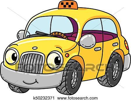 Clipart Lustig Klein Taxifahrzeuge Auto Mit Augenpaar