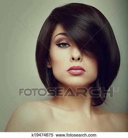 Makeup Beautiful Woman Face With Short Hair Style Vintage