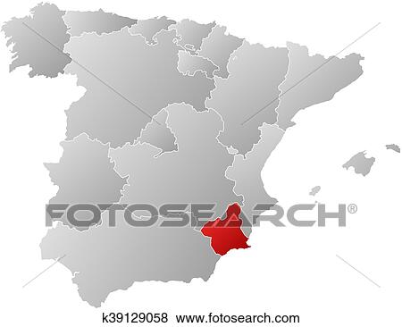 Map Of Spain Murcia.Map Spain Murcia Clip Art K39129058 Fotosearch
