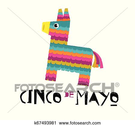 Mexican Fiesta Banner And Poster Design With Donkey Pinata