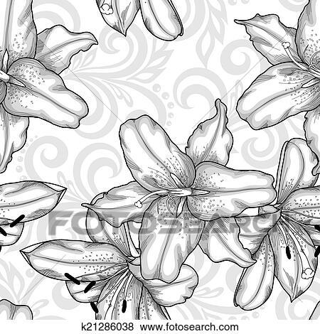 Clip Art - schwarz weiß, seamless, muster, mit, blau, lilien, blumen ...