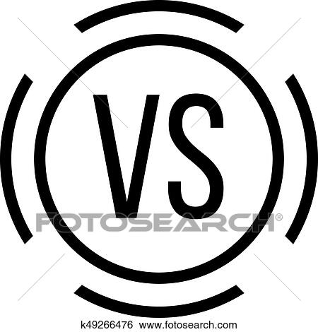 Black Versus Sign In Circle Clip Art K49266476 Fotosearch