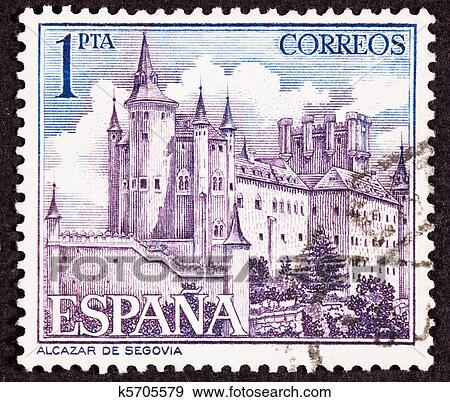 Stock Illustration Of Cancelled Spanish Postage Stamp Segovia Castle