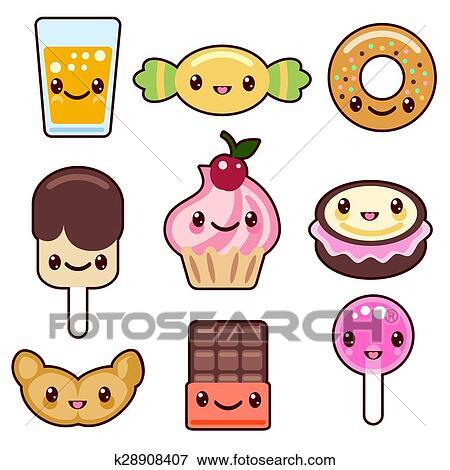 Clip art caramella kawaii cibo caratteri k28908407 for Immagini disegni kawaii
