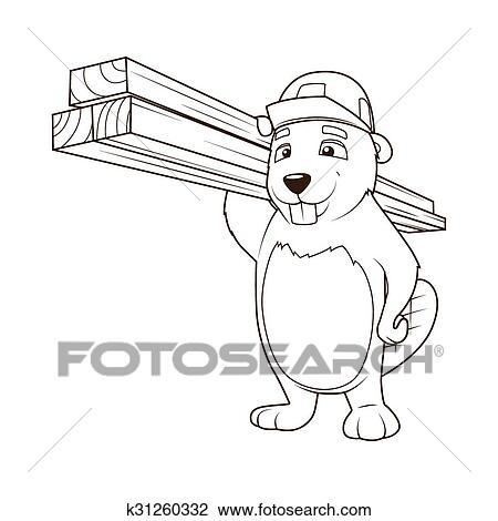 Clipart - castor, constructor, libro colorear, vector, ilustración ...