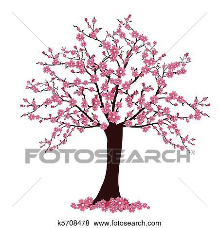 Cerisier clipart k5708478 fotosearch - Dessin arbre chinois ...