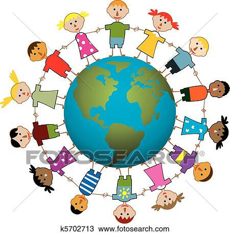 clipart of children around the world k5702713 search clip art rh fotosearch com Missions around the World Logo Hands around the World