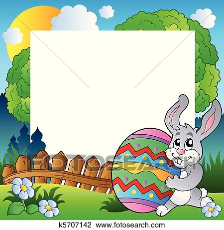 Clipart of Easter frame with bunny holding egg k5707142 - Search ...