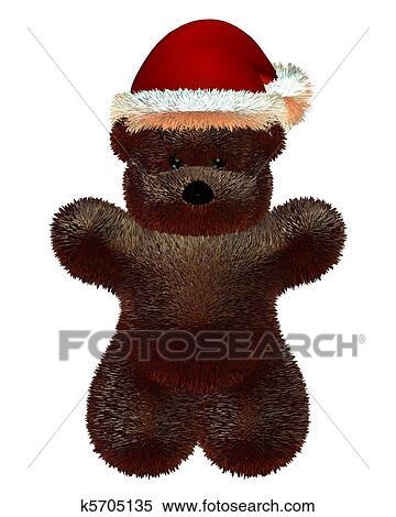 43692c71e01c5 Stock Illustration of Fluffy Teddy Bear and Christmas Hat k5705135 ...
