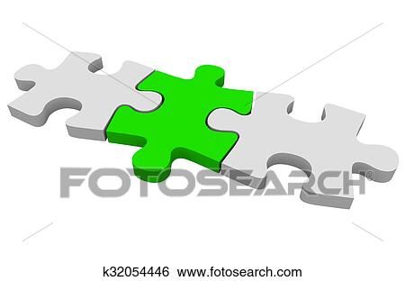 stock illustration of green puzzle piece three connected pieces