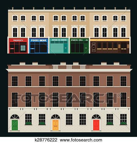 Clipart - inglese, terrazzo, case k28776222 - Cerca Clipart ...