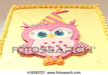 Superb Owl Birthday Cake Stock Image K18393721 Fotosearch Funny Birthday Cards Online Ioscodamsfinfo