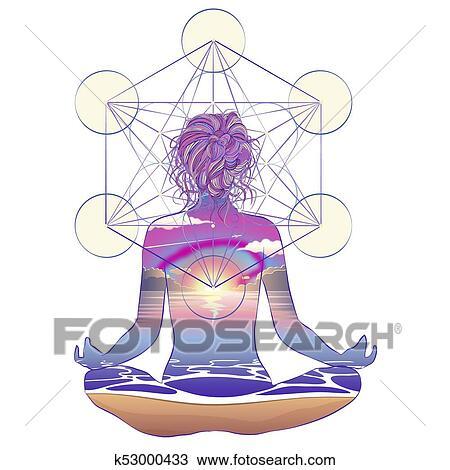 sacred geometry woman ornate silhouette sitting in lotus