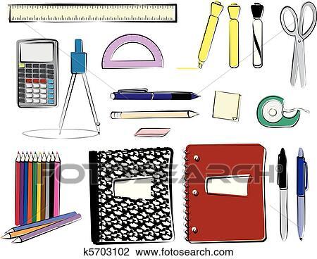 clipart of school supplies k5703102 search clip art illustration rh fotosearch com free clipart images of school supplies clipart images of school supplies