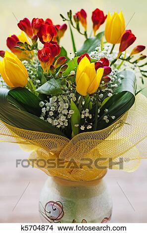 Spring Flowers Bouquet In Handmade Vase Stock Photo K5704874