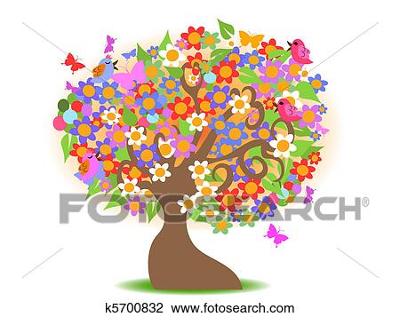 Spring Flowers and Tree Clip Art