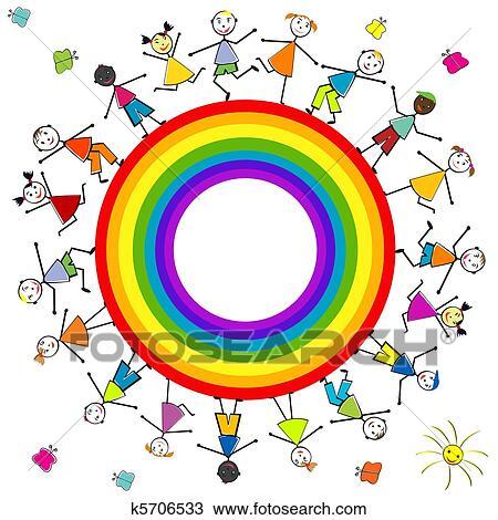 Stilizzato Bambini Intorno Uno Arcobaleno Disegno K5706533