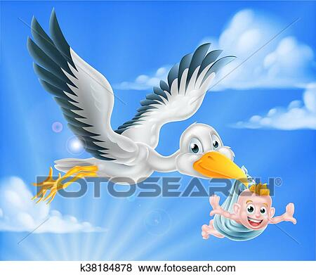 clip art of stork flying holding baby k38184878 search clipart