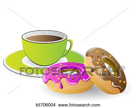Tea time with coffee and donuts Clipart | k5706004 ...