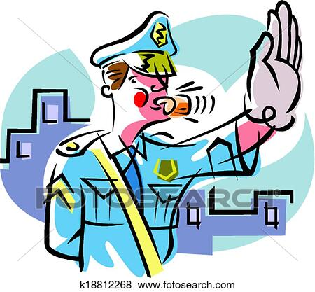 clip art of traffic cop k18812268 search clipart illustration rh fotosearch com traffic clipart gif traffic clipart