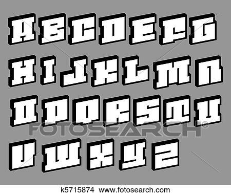3d render of cubic blocky pixel like alphabet fonts Stock Illustration