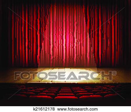 Clip Art Of A Theater Stage With Red Curtain Seats And