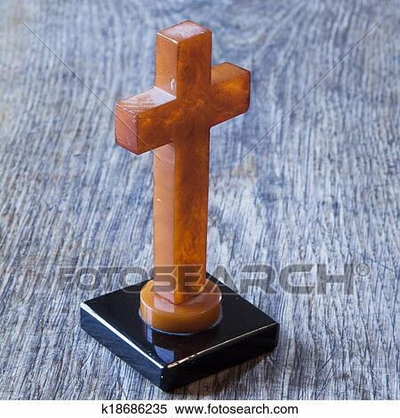 Stock Image Of Beautiful Old Cross With Jesus On The Old Wooden