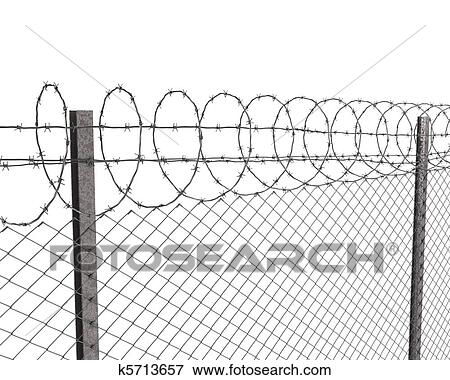 Stock Illustration of Chainlink fence with barbed wire on top ...