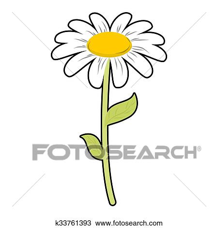 Clipart of chamomile field flower white petals and green stem cute chamomile field flower white petals and green stem cute flower daisy on white background mightylinksfo