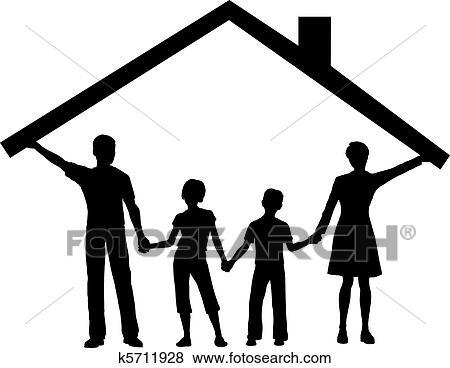 Clip Art Of Family Under House Hold Home Roof Over Kids K5711928