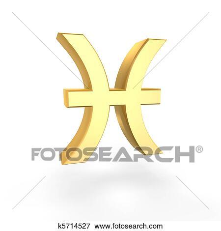 Stock Illustration Of Golden Pisces Symbol Of Zodiac K5714527