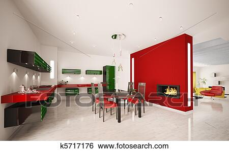 Interno, di, moderno, cucina, con, caminetto, 3d, render Archivio ...