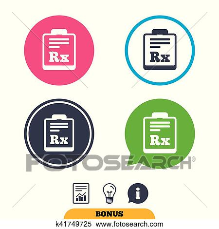 Clipart Of Medical Prescription Rx Sign Icon Pharmacy K41749725