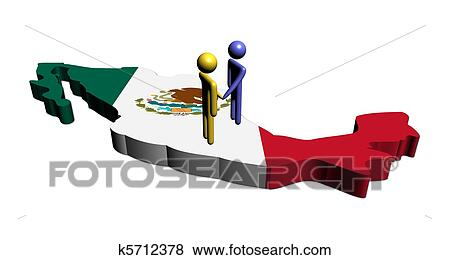 Stock Illustration Of People Shaking Hands On Mexico Map Flag