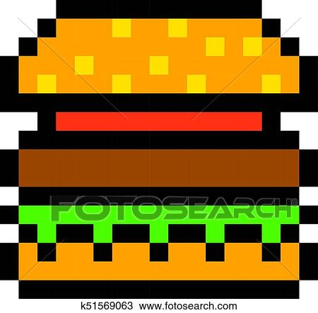 Pixel Burger Hamburger Art Cartoon Retro Game Style Clipart
