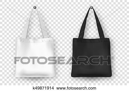 Clipart of realistic vector black and white empty textile tote bag realistic vector black and white empty textile tote bag icon set closeup isolated on white background design templates for branding mockup maxwellsz