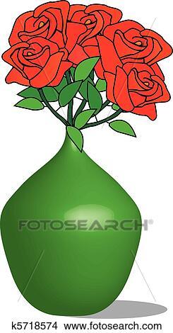 Red Roses in a Vase Clip Art