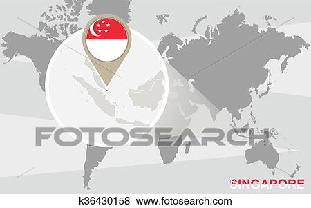World Map With Magnified Singapore Clip Art K36430158
