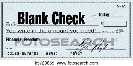 stock illustration of blank check financial freedom from wealth