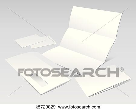 Clip Art Of Blank Letter Envelope Business Cards And Booklet