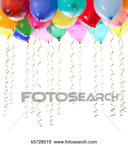 stock photograph of colourful balloons filled with helium and with