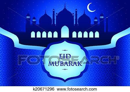 Clip art of eid al fitr greeting card k20671296 search clipart a vector illustration of eid al fitr greeting card design m4hsunfo
