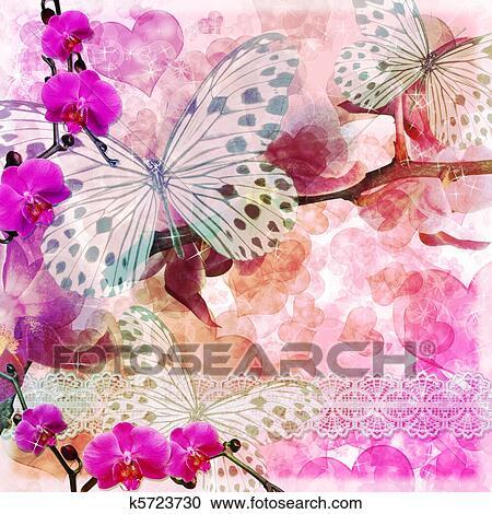 Farfalle E Orchidee Fiori Sfondo Rosa 1 Di Set Clipart