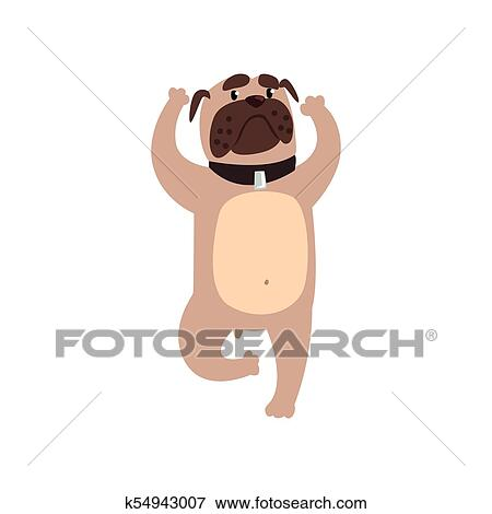 French Bulldog Standing In Tree Or Vrishasana Exercise Funny Dog Practicing Yoga Cartoon Vector Illustration On A White Background Clip Art K54943007 Fotosearch
