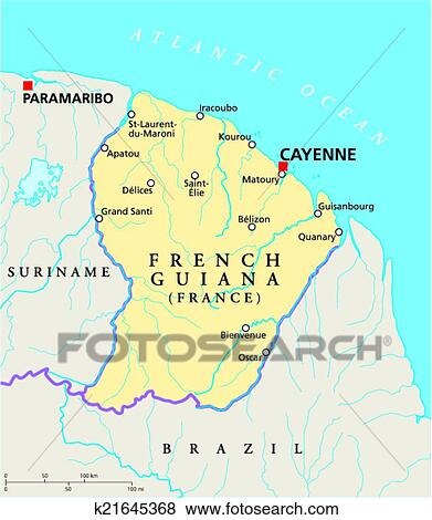 Map Of France With Cities And Rivers.French Guiana Political Map Clip Art