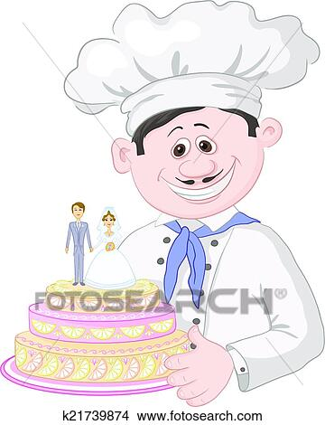 Clipart Karikatur Koch Mit Feiertag Hochzeit Kuchen K21739874