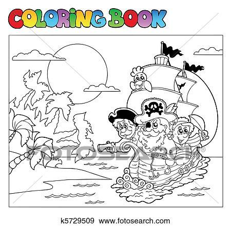 Clip Art - libro colorear, con, pirata, escena, 3 k5729509 - Buscar ...