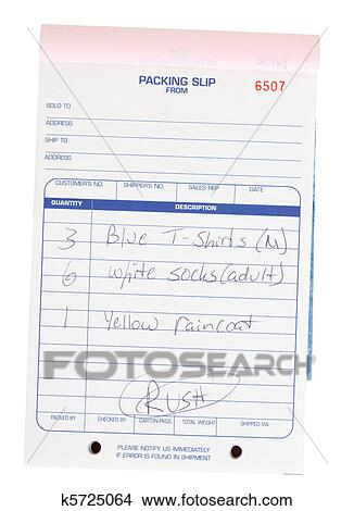 stock photo of packing slip invoice pad clothing list isolated