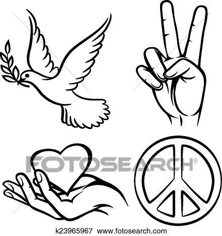Clip Art Of Peace Symbols K23965967 Search Clipart Illustration